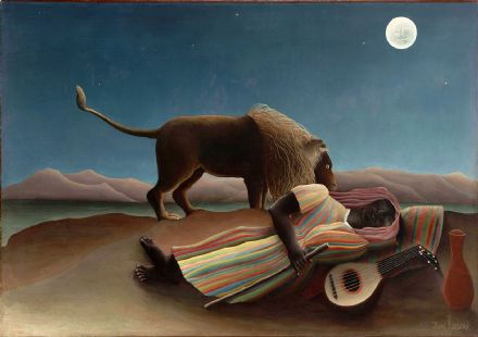 Rousseau, Henri: The Sleeping Gypsy, 1897. Fine Art Print/Poster. Sizes: A4/A3/A2/A1 (00555)